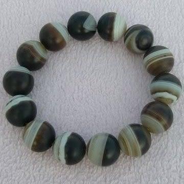 【歡喜心珠寶】【老礦至純藥師珠圓珠16mm手鍊】14顆.天然縞瑪瑙老礦西藏天珠「附保証書」