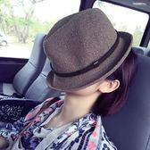 韓版卷邊皮帶爵士帽夏天逛街防曬遮陽小禮帽