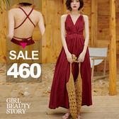 SISI【D9013】現貨沙灘復古風情性感繫帶露美背墜感長版開叉連身裙洋裝