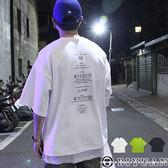 【OBIYUAN】短袖上衣 OVERSIZE 太空棉 標語 五分袖 短袖T恤 共色【K1008】