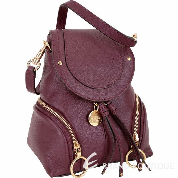 SEE BY CHLOE Olga 小型 雙拉鍊設計牛皮後背包(紫紅色) 1740493-87