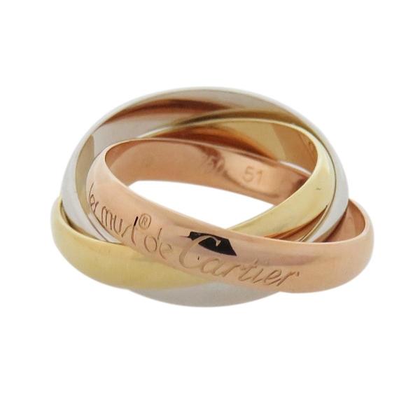 Cartier 卡地亞 Trinity系列 18K金三色三環戒 Ring #51【二手名牌 BRAND OFF】