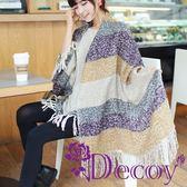 【Decoy】渲染流蘇*仿羊毛編織圍巾/黃紫 ◆86小舖 ◆