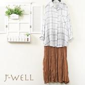 薄棉格紋襯衫圓點點皺褶雪紡蛋糕裙二件組(組合C136 8J1620白格+K1088咖)