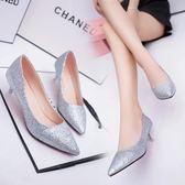 低跟鞋2019春季韓版女士尖頭鞋亮片細跟高跟鞋低跟職業鞋淺口單鞋女 【時尚新品】