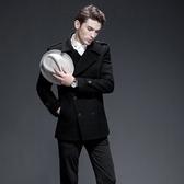 毛呢大衣-時尚英倫商務修身羊毛短款男外套2色72e23【巴黎精品】