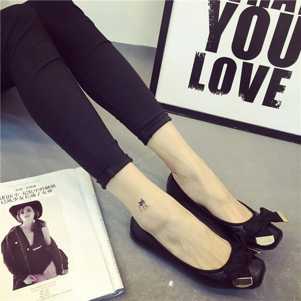 大尺碼女鞋小尺碼女鞋獨家方頭超舒適軟底蝴蝶結舒適黑色娃娃鞋平底鞋(35-41)現貨#七日旅行