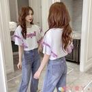 蕾絲上衣短袖t恤女2021夏款韓版亮片刺繡網紗拼接蕾絲荷葉邊百搭寬鬆上衣 愛丫