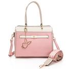 PLAYBOY- 方形手提包-附長背帶/寬背帶 摩登都市系列 -粉色