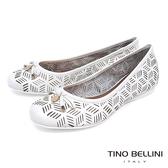 Tino Bellini 巴西 線條皮雕鏤空娃娃鞋_ 白B83232 歐洲 款