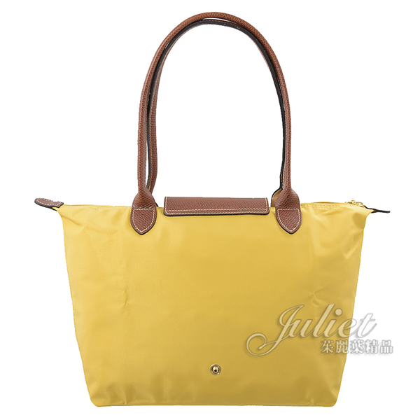 茱麗葉精品【全新現貨】Longchamp Le Pliage 折疊長揹帶肩提包.香蕉黃 #2605