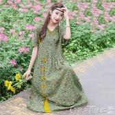 碎花連身裙 民族風復古印花棉麻連身裙夏天薄款寬鬆顯瘦麻棉碎花長 爾碩