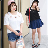★韓美姬★中大尺碼鏤空愛心短袖T恤上衣(XL~4XL)