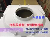威利 WL-35WV1(加8吋風管頭)輕鋼架專用節能風扇14吋遙控型 (110V電壓)。免運費。((另售一般款WL-15WV1))