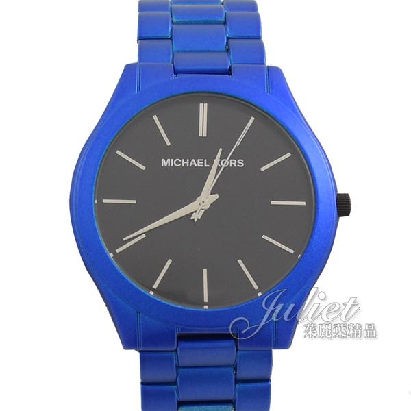 茱麗葉精品【全新現貨】MICHAEL KORS MK8760 Slim Runway 不鏽鋼大框腕錶.藍