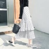 長裙高腰波點半身長裙中長款小圓點荷葉邊蛋糕裙鬆緊腰學院風 凱斯盾