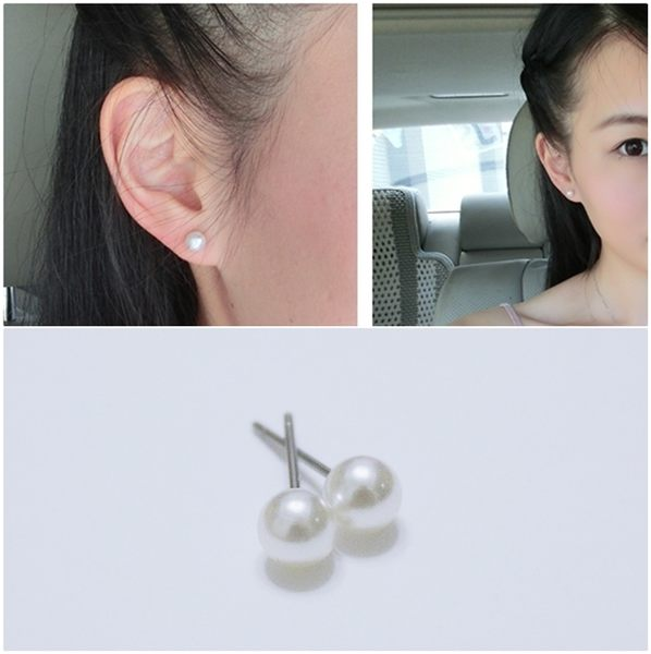 316L醫療鋼 5mm中珍珠 耳環耳針釘-銀 防抗過敏