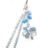 藍色水鑽幸運草與施華洛世奇圓片珠鍊吊飾