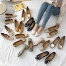淺口單鞋春季新款百搭平底大碼奶奶鞋粗跟中跟晚晚仙女豆豆鞋 伊芙莎