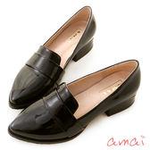 amai學院風金屬拼接尖頭粗跟樂福鞋 黑