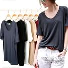 莫代爾t恤女短袖夏季韓版絲光棉純色大碼簡約V領寬鬆體恤打底衫薄 衣櫥秘密