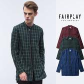 【GT】FairPlay Wesley 藍綠紅 長袖襯衫 格紋 格子 棉絨 修身 休閒 長版 彈性 美牌 現貨 前短後長