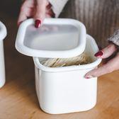 儲物盒日式TPE蓋白色保鮮盒冰箱收納搪瓷大號