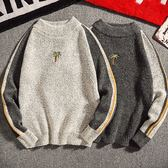 小高領撞色椰子樹刺繡針織衫/毛衣 2色 M-2XL碼【CM65210】