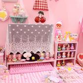 粉色少女心電腦顯示器桌上屏幕底座增高架子 軟妹桌面收納置物架