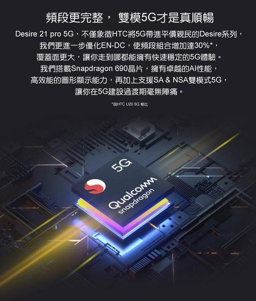【送空壓殼+滿版玻璃保貼】HTC Desire 21 pro 5G 8G/128G