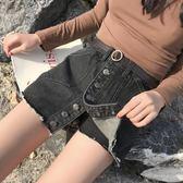 女裝韓版寬鬆時尚高腰顯瘦假兩件A字裙裙褲學生牛仔褲短褲潮    琉璃美衣