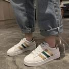 貝殼鞋 拼色板鞋女韓版潮鞋2021夏季新款貝殼鞋休閑小白鞋女貝殼頭女鞋子 歐歐