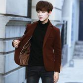 男士毛呢小西裝韓版修身呢子西服青年厚外套短款妮子英倫秋冬大衣