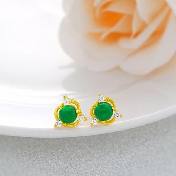 沙金馬來玉耳釘女仿真黃金鍍24k金珍珠耳釘時尚氣質耳針飾品
