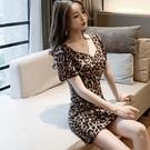 洋裝 小禮服 夏款性感女裝豹紋連身裙低v領收腰抽褶修身包臀短袖洋氣短花裙子 韓風