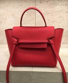 ■現貨在台■專櫃8折 Celine 全新真品壓紋珠地小牛皮精巧型MICRO BELT手袋包 紅色