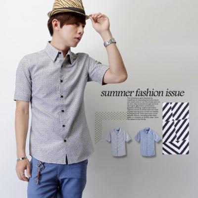 襯衫‧柒零年代MatureMan【N8092J】夏日都會休閒風方塊幾何感格紋短袖襯衫(HO-D015)
