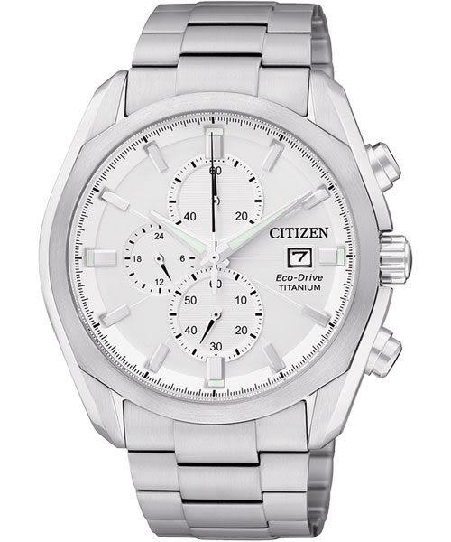 CITIZEN 星辰 ECO-Drive 超級鈦金屬計時腕錶/手錶-銀 CA0021-53A