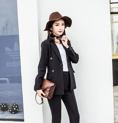 OL通勤西服套裝韓國時尚潮簡約韓版雙排扣兩件套西服修身西裝套裝女T238快時尚