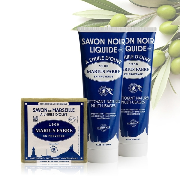 法國法鉑-綠活居家黑肥皂輕便清潔組(黑肥皂250m*2+馬賽皂200g)