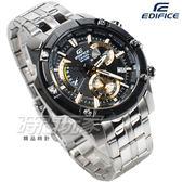 EDIFICE EFR-559DB-1A9 大型復古計時錶 三眼逆跳男錶 黑金色 鐵帶 EFR-559DB-1A9VUDF CASIO卡西歐