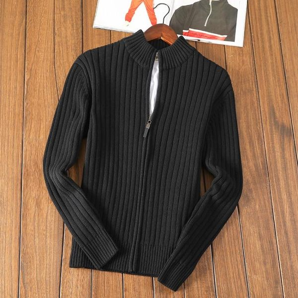 冬季男士開衫毛衣男外套拉鍊半高領針織衫 亞斯藍