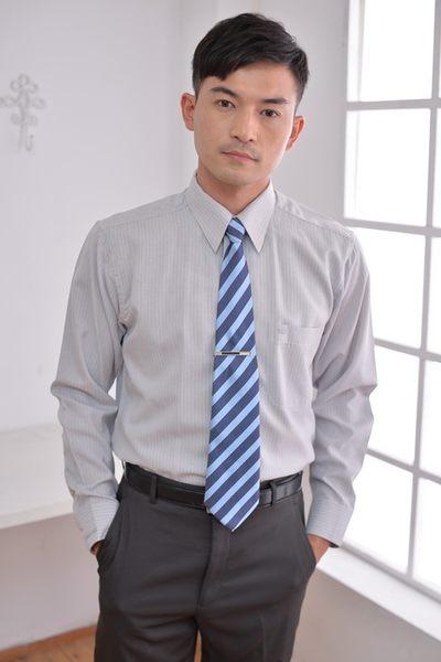 【S-14-3】森奈健-專業自信辦公室男長袖襯衫(銀灰色條紋)
