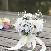 新款婚紗攝影道具手捧花白色旅拍攝影樓外景韓式新娘仿真假花  居家物語