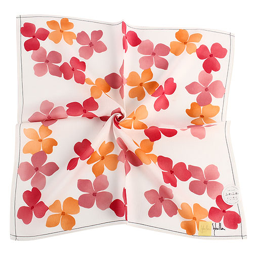 Sybilla 繽紛印花純綿帕領巾(橙紅色)989164-85