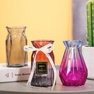 花瓶 【兩件套】歐式玻璃花瓶水培富貴竹客廳干鮮花百合插花透明擺件【快速出貨八折下殺】