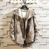秋冬季迷彩飛行員夾克男韓版衝鋒衣潮牌寬鬆工裝外套大碼中款風衣『小淇嚴選』