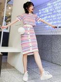 夏季精神套裝女2018俏皮時尚小清新條紋半身裙港味網紅兩件套