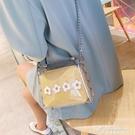 小清新包包女新款韓版透明果凍小方包時尚錬條側背斜背包 黛尼時尚精品