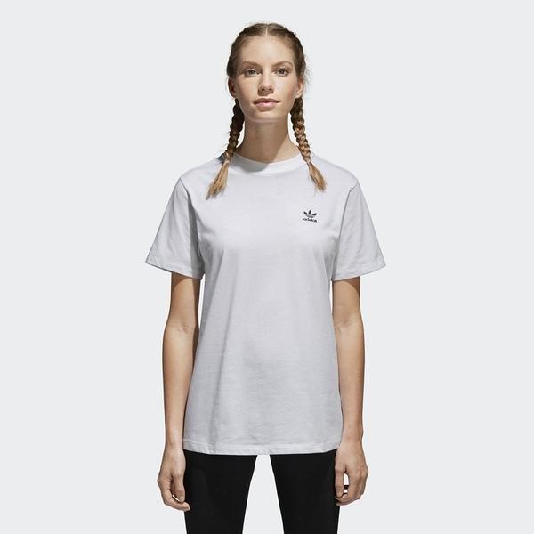ADIDAS ORIGINALS 短T 短袖 胸前三葉草 全白 素T 女(布魯克林) CE1667